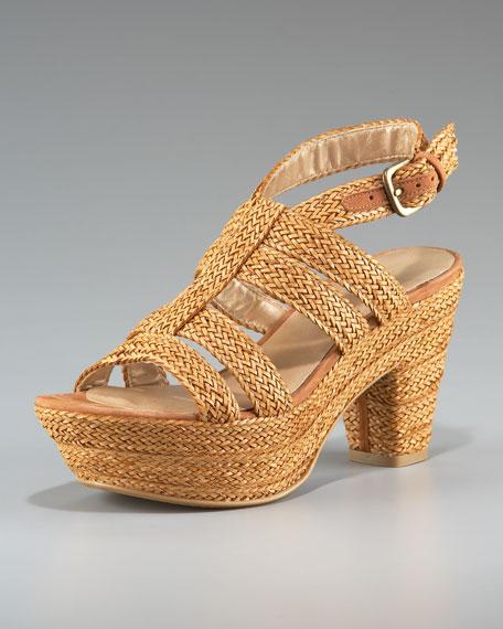 Woven Raffia Platform Sandal