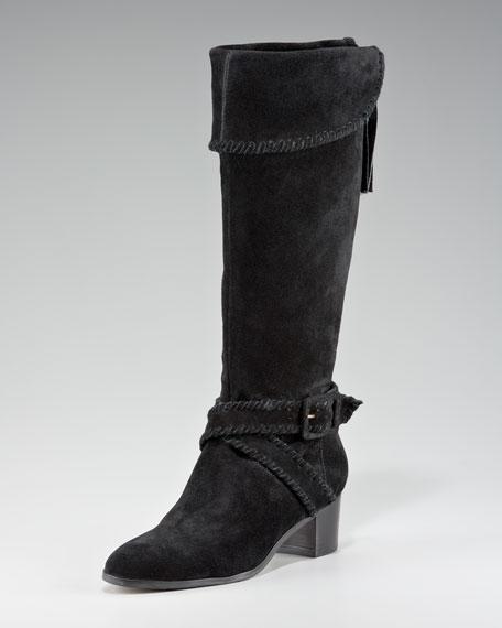 Whipstitch Suede Knee Boot, Black