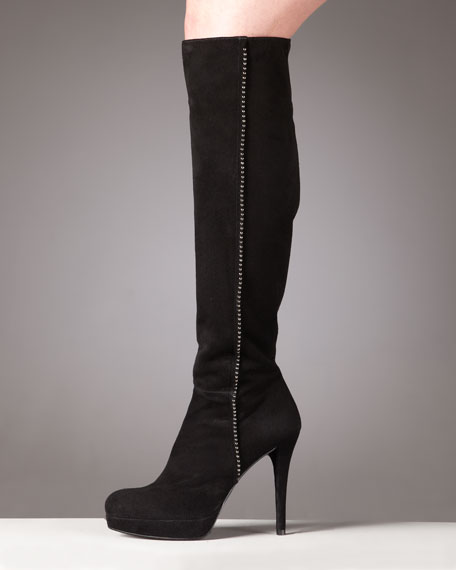 Beaded Platform Knee Boot