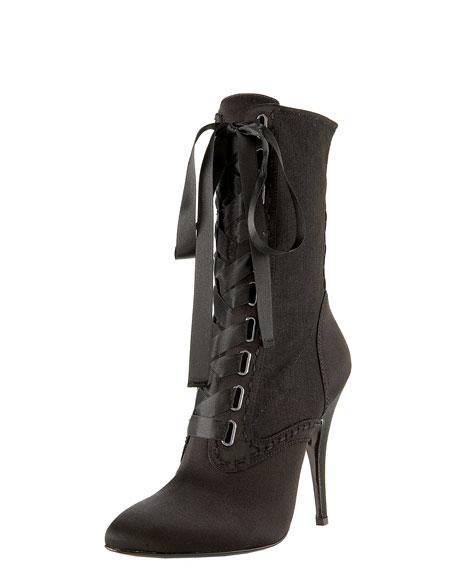 Balmain Satin Lace-Up Boot