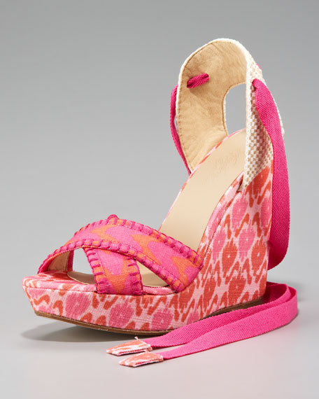Theodora & CallumPatterned Linen Lace-Up Wedge, Pink