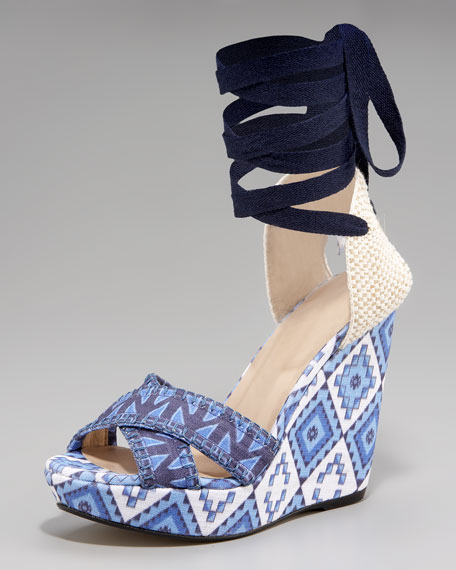 Patterned Linen Lace-Up Wedge, Blue