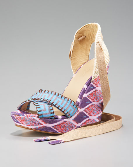 Theodora & Callum Patterned Linen Lace-Up Wedge, Lilac