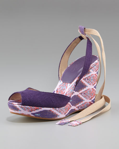 Linen Covered Slingback Wedge, Violet