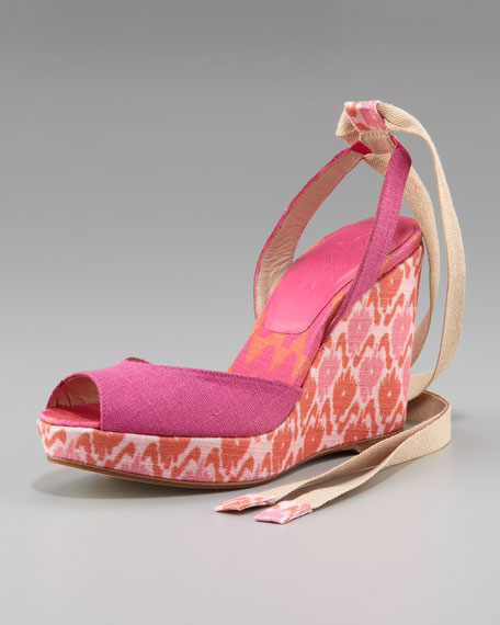 Linen Covered Slingback Wedge, Pink