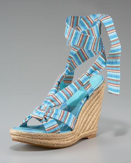 Linen Ankle-Wrap Espadrille, Turquoise