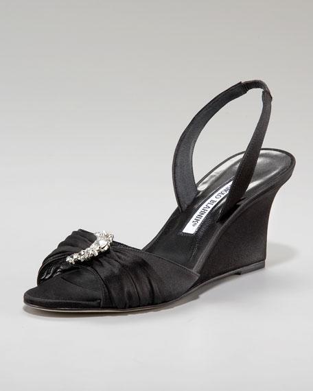Satin Halter Wedge Sandal