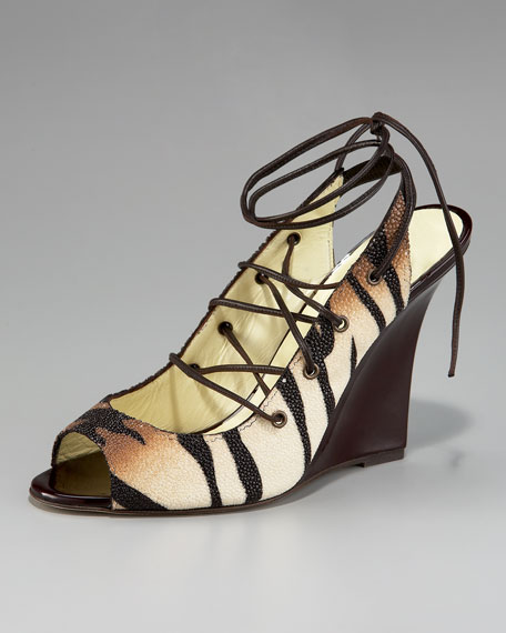 Manolo Blahnik Zebra-Print Stingray Lace-Up Sandal
