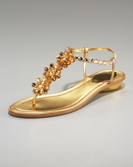 Rene Caovilla Crystal-Flower Thong Sandal