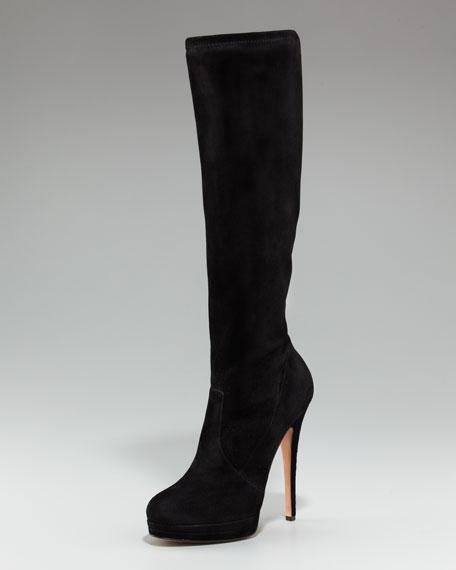 Platform Stretch Suede Knee Boot