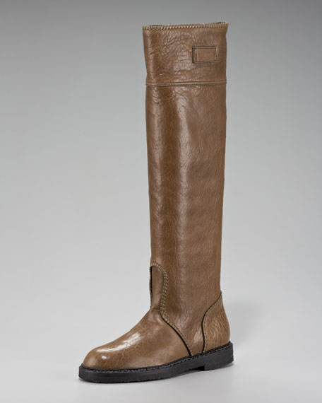 Donna Karan Tall Leather Flat Boot