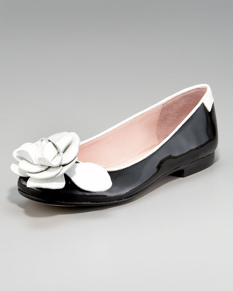 Rose-Toe Patent Ballerina Flat