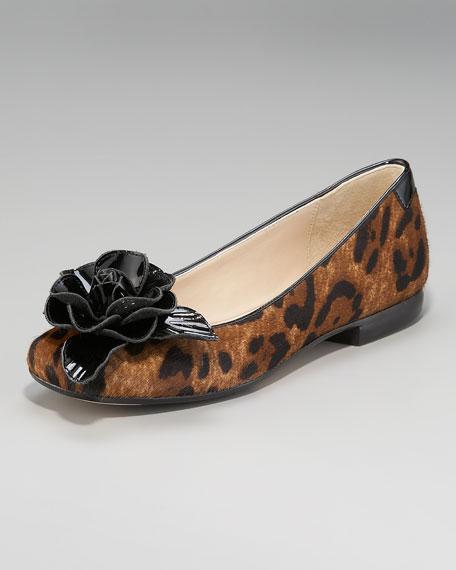 Rose-Toe Leopard-Print Flat