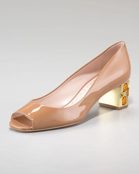 Patent Peep-Toe Jeweled Heel Pump