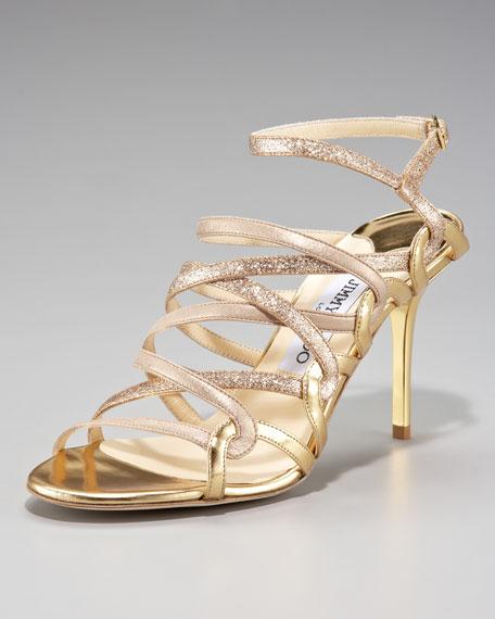 Tri-Shine Strappy Sandal, Gold