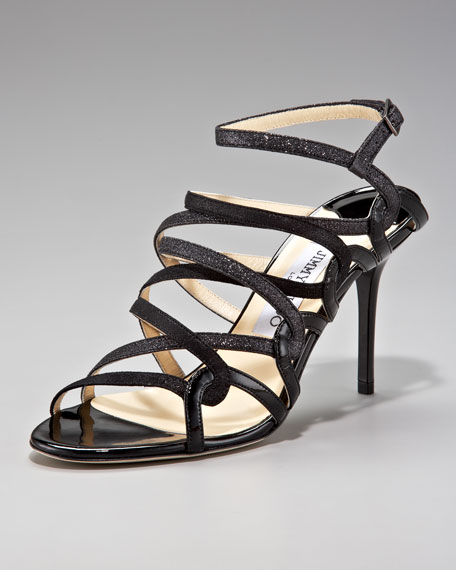 Tri-Shine Strappy Sandal, Black