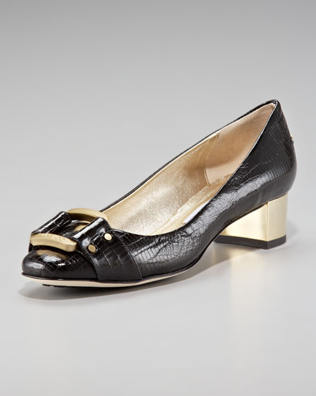 Lizard-Embossed Loafer Pump