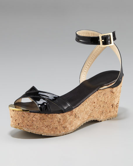 Panther Patent Cork Wedge Sandal