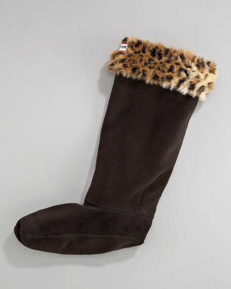 Leopard-Cuff Welly Sock