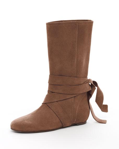 Malika Flat Boot, Dark Brown