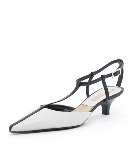 Two-Tone Kitten-Heel Halter, Black/White
