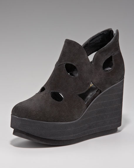 Cutout Suede Wedge Bootie