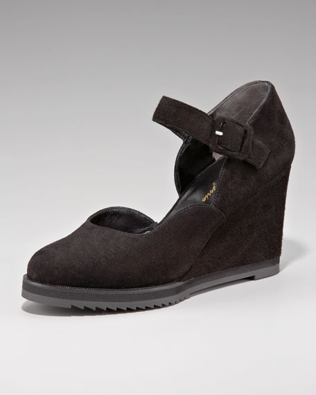 Suede Mary Jane Wedge
