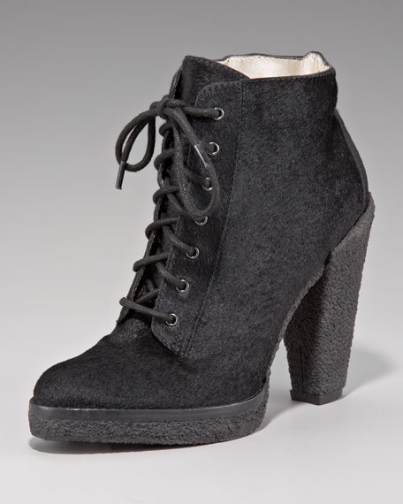 Calf-Hair Lace-Up Ankle Boot