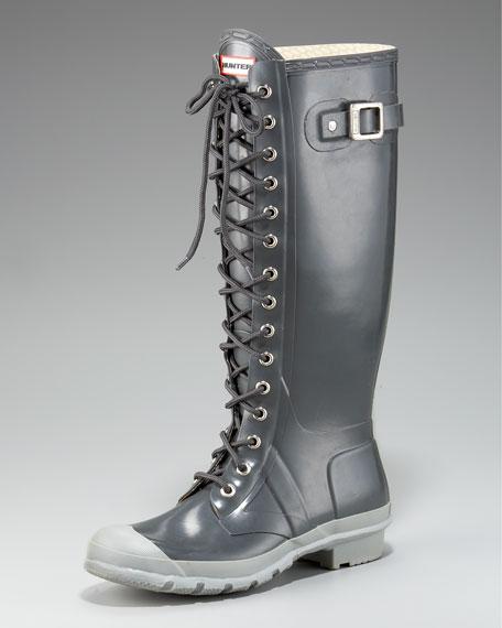 Gloss Lace-Up Rain Boot