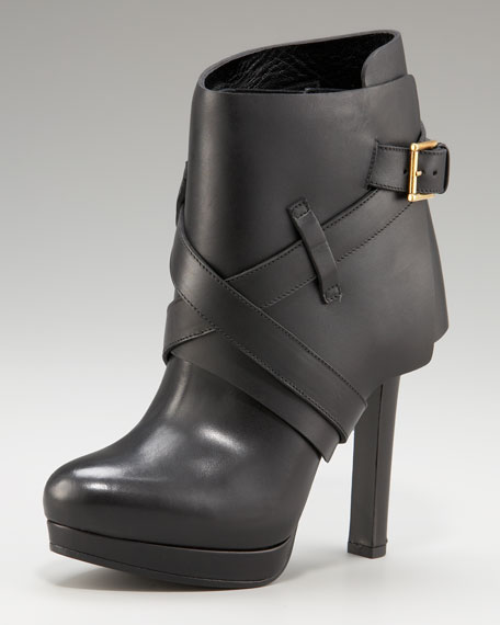 Strapped Fold-Over Ankle Boot