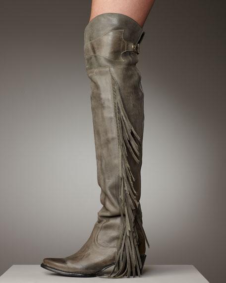 Leather Fringe Boot