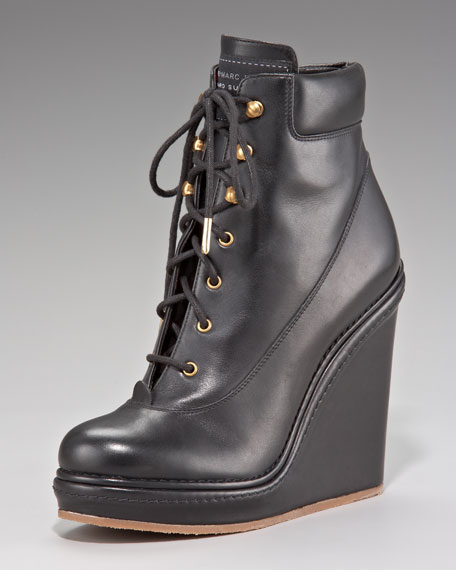 Lace-Up Wedge Ankle Boot