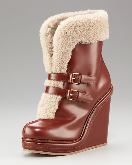 Faux-Shearling Buckle Boot