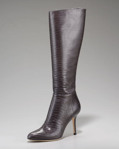 Lizard-Print Fitted Boot
