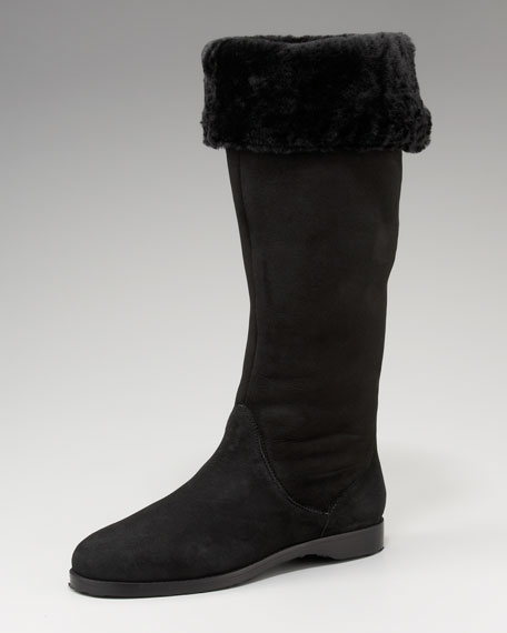 Suede Shearling-Lined Boot