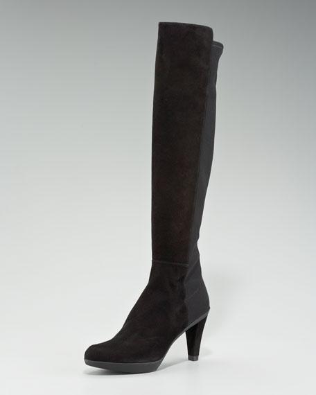 Suede Stretch Heel Boot