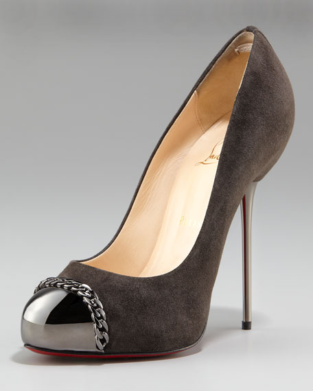 Metal-Stiletto Suede Pump