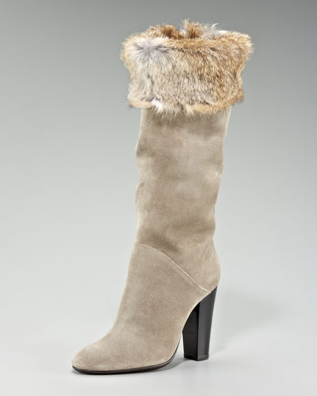 Fur-Trimmed Suede Boot