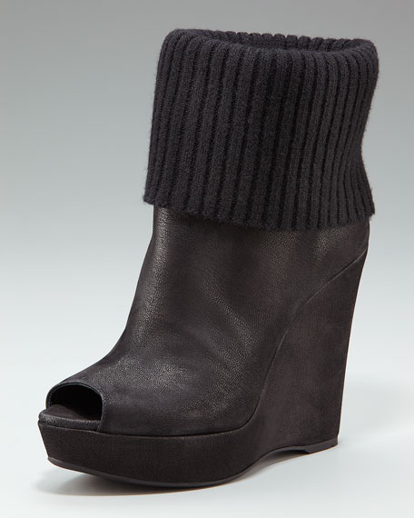 Fold-Over Wedge Bootie