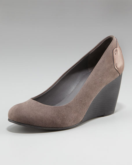 Suede Stacked-Wedge Pump