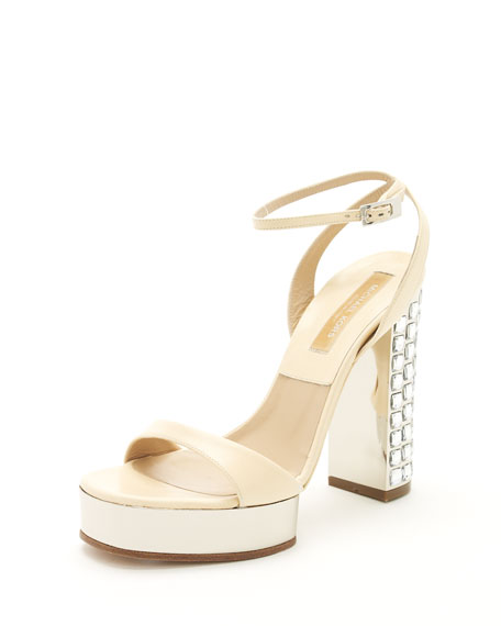 Jewel-Heel Sandal, Blonde