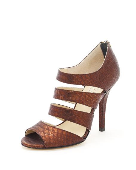 Rhonda Gilded Snake-Embossed Leather Sandal