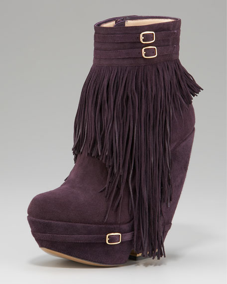 Fringed Wedge Bootie
