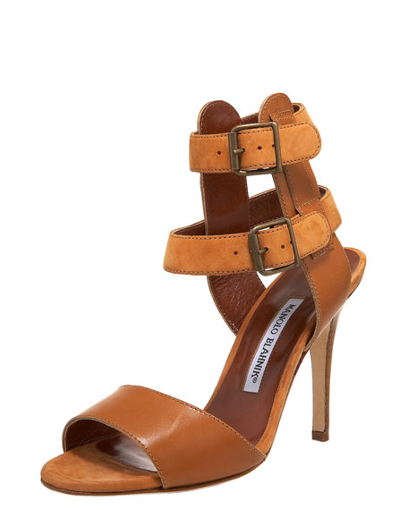 Manolo Blahnik Double Ankle-Wrap Sandal