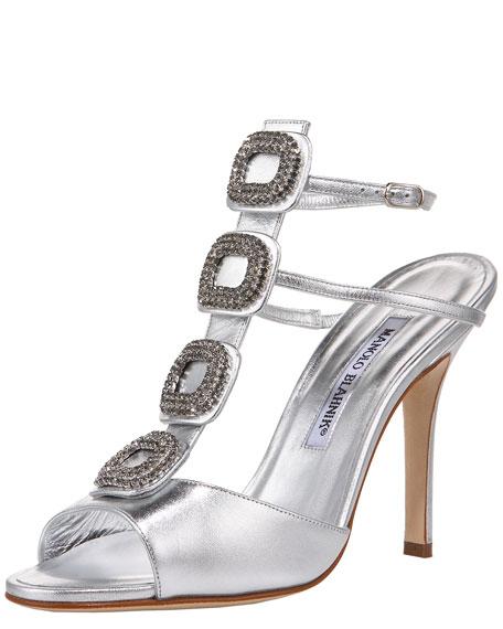 Jeweled Napa T-Strap Sandal