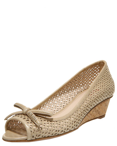 Peep-Toe Cork Wedge Pump