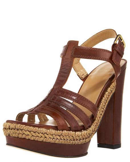Braid-Detail T-Strap Platform Sandal