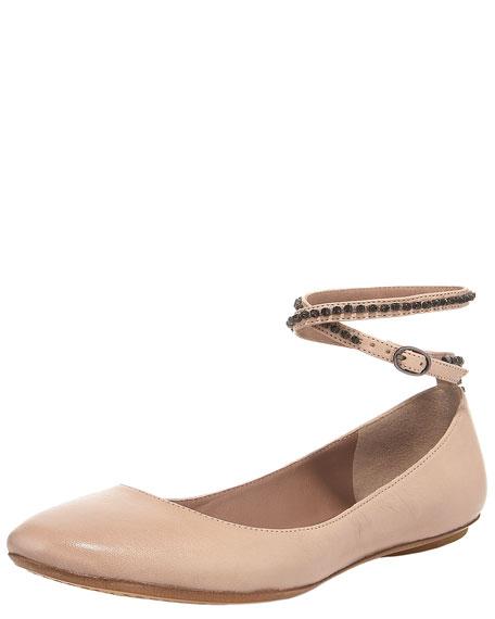 Crystal-Strap Ballerina Flat