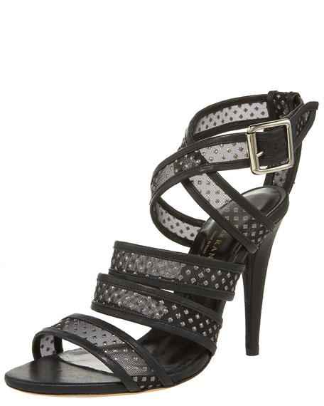 Studded Mesh Crisscross Sandal
