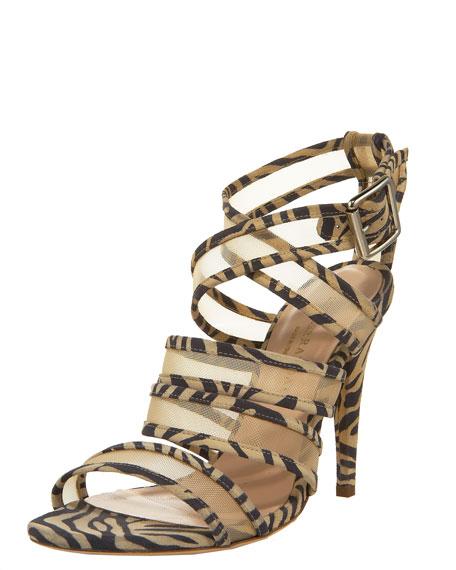 Zebra-Trimmed Mesh Crisscross Sandal